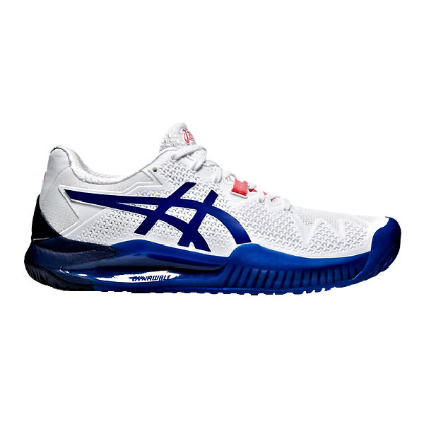 ASICS Gel-Resolution 8 Women's (WIDE) (EE) OUTDOOR Shoes (White/Lapis Lazuli Blue) (1042A097.107)