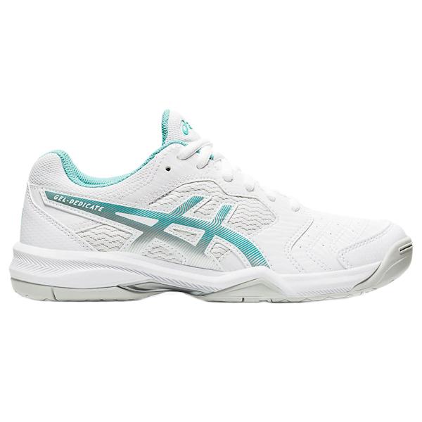 ASICS Gel-Dedicate 6 Women's OUTDOOR Shoe (White/Techno Cyan) (1042A067.105)
