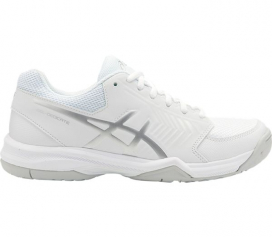 new product a8a8d a38c7 ASICS Gel-Dedicate 5 Women s OUTDOOR Shoe (White Silver) (E757Y.0193)   PaddleballGalaxy