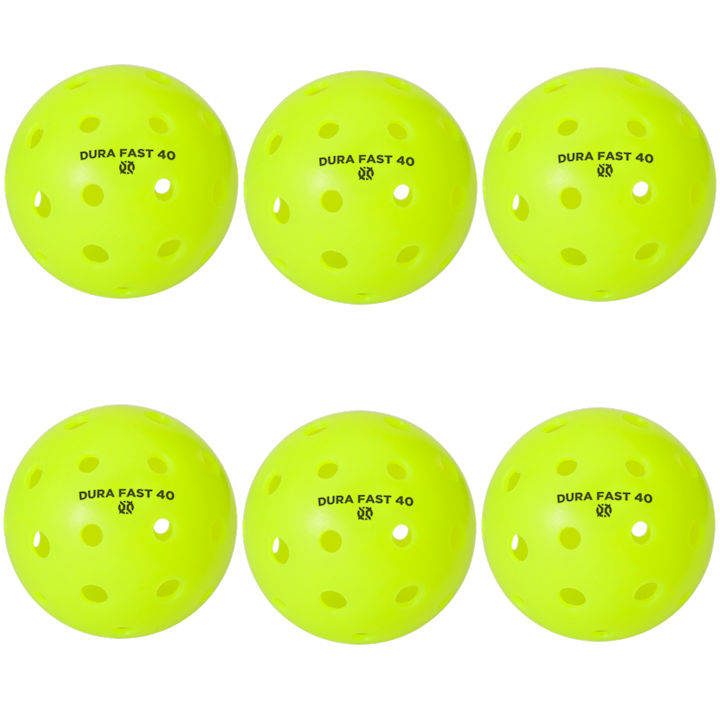 Dura Fast 40 Outdoor Neon Green Pickleballs 6 Pack