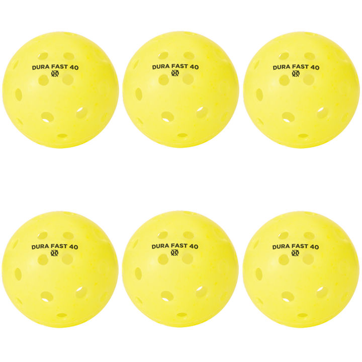Dura Fast 40 Outdoor Yellow Pickleballs 6 Pack